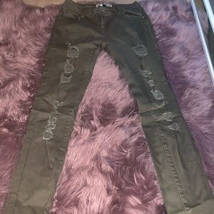 Army green distressed pants